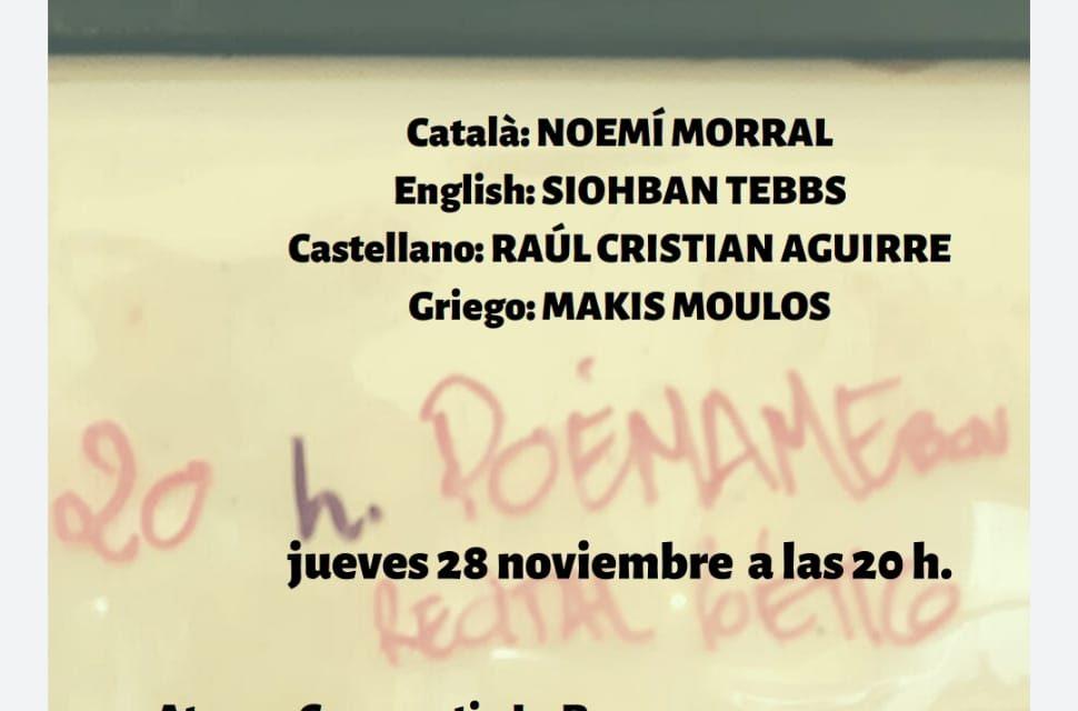 #PoémameBcn, Festival poético: noviembre 2019