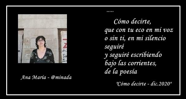 """Minada: """" seguiré escribiendo bajo las corrientes, de la poesía"""""""